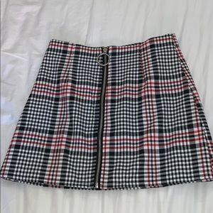 Plaid Zip Up Skirt